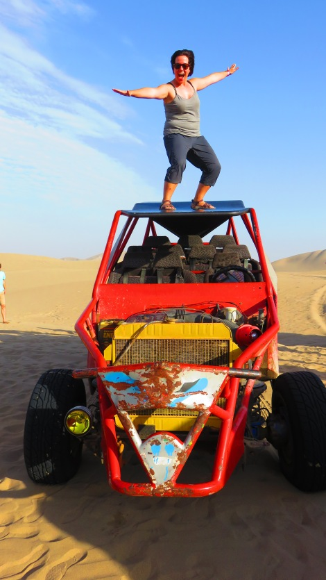 Surfing on the Dune Buggy! This ride was terrifyingly fun... with stops to sandboard down some of the steepest dunes). SO FUN!