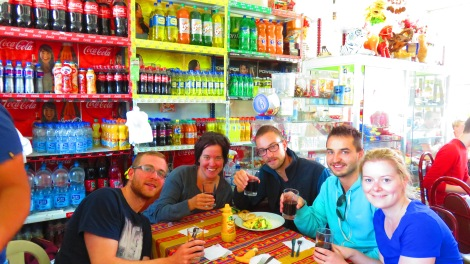 Nothing like stopping for lunch to eat inside a convenience store. We celebrated this fact by purchasing a bottle of wine to share! Cheers!