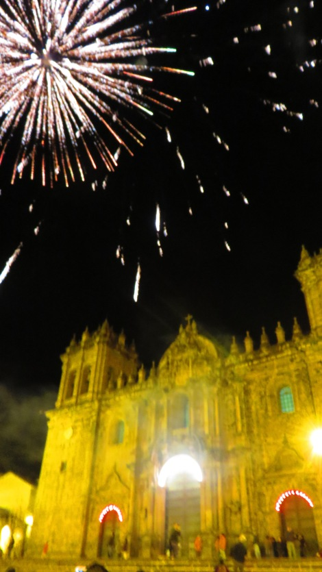 Cuzco is so happy we made it, they had fireworks!