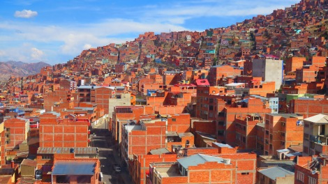 View of hte houses as we went up the Teleferico (cable car) to El Alto.